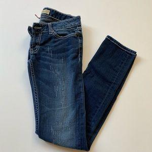 Bke Dark Blue Distressed Stella Skinny Jeans Sz 26